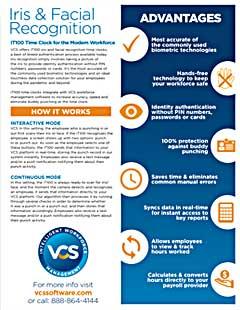 VCS iT100 cover iris facial recognition time clocks