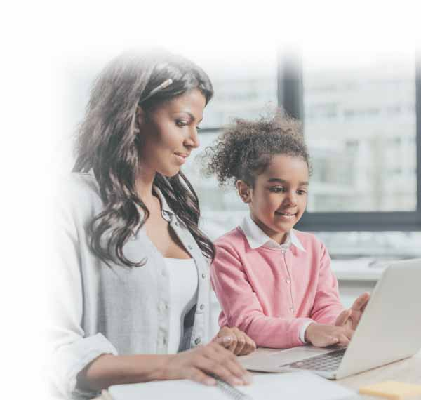 woman working with daughter