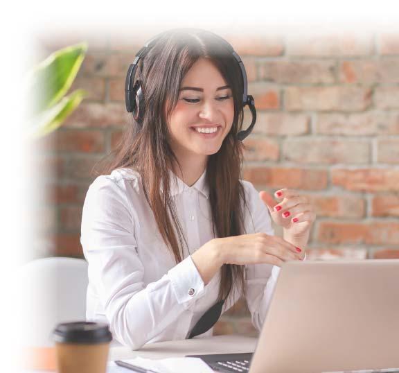 woman laptop headset